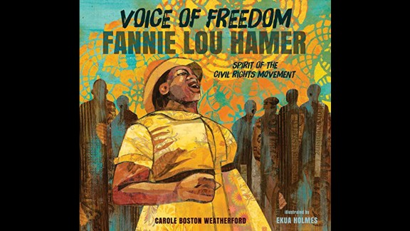 "Coretta Scott King - John Steptoe New Talent Illustrator Award: ""Voice of Freedom: Fannie Lou Hamer, Spirit of the Civil Rights Movement,"" illustrated by Ekua Holmes and written by Carole Boston Weatherford."