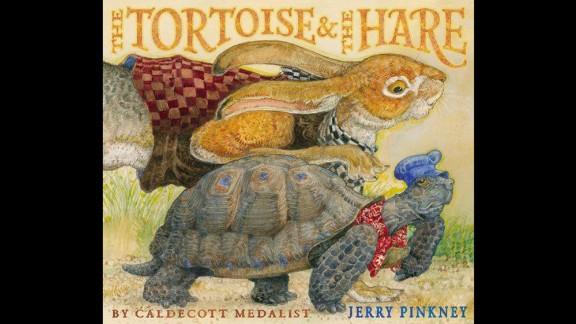 "Coretta Scott King - Virginia Hamilton Award for Lifetime Achievement: Jerry Pinkney. His book ""The Tortoise & the Hare"" is shown here."