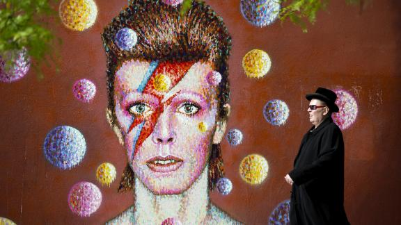A 3D wall portrait of David Bowie, created by Australian street artist Jimmy C, in Brixton, South London
