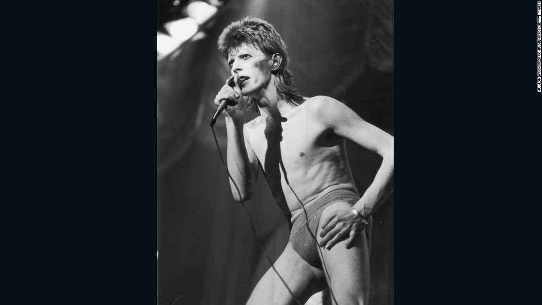 Bowie performs as 'Ziggy Stardust' in 1973.