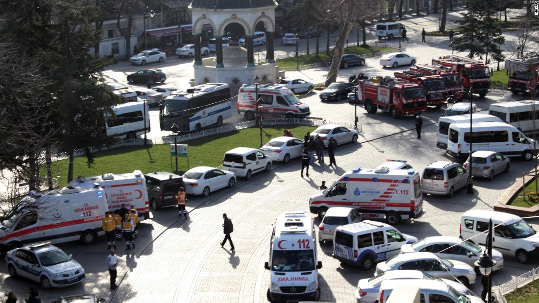 Ambulances and fire trucks gather near the site of the attack.