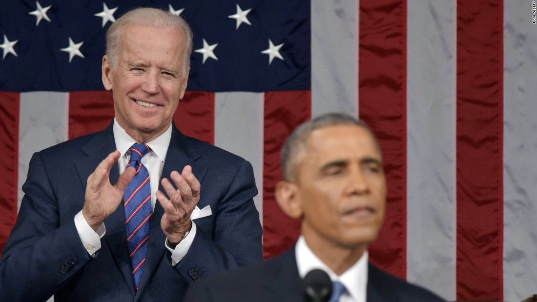 Biden applauds Obama during the State of the Union address in January 2015.
