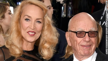 News Corp. CEO Rupert Murdoch and model Jerry Hall attend the 73rd Annual Golden Globe Awards held at the Beverly Hilton Hotel on January 10, 2016 in Beverly Hills, California.