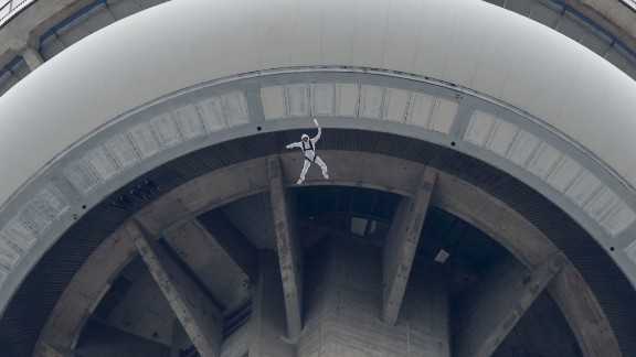 BASE jumper Fred Fugen, from Red Bull's Soul Flyers team, leaps from Toronto's 1,815-foot CN Tower in May.