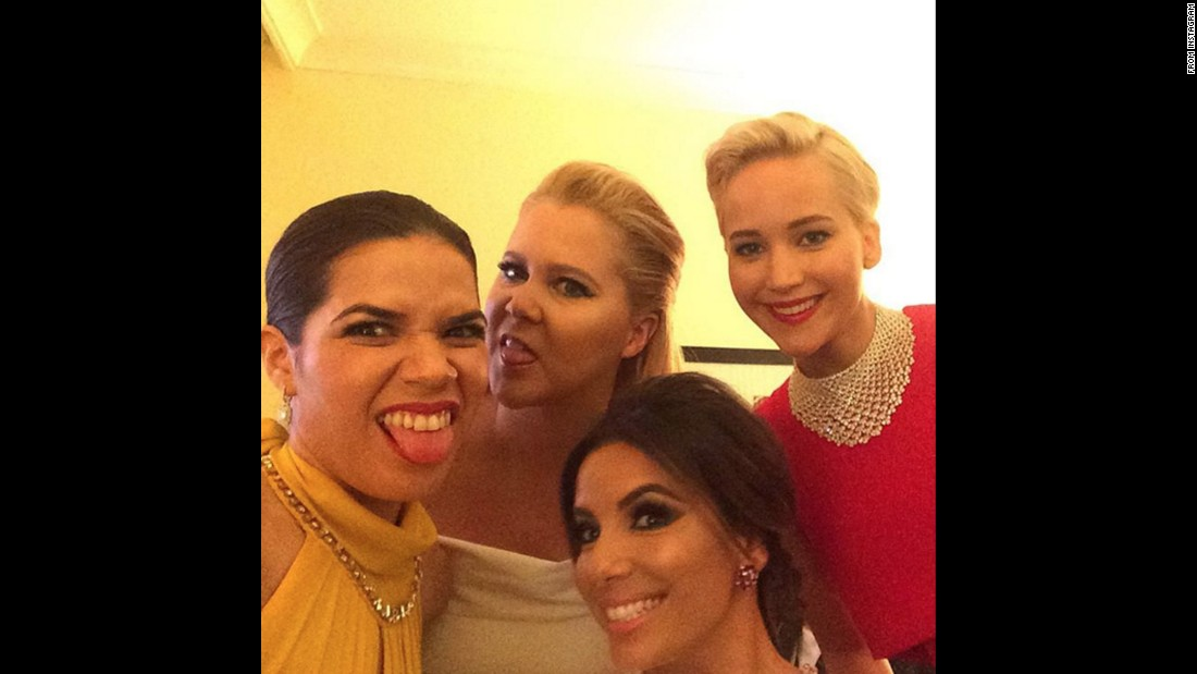 "From left, actresses America Ferrera, Amy Schumer, Eva Longoria and Jennifer Lawrence take a selfie together at the Golden Globe Awards. ""Really good light back here in the presenters green room,"" <a href=""https://www.instagram.com/p/BAYXRsQyahl/?taken-by=americaferrera"" target=""_blank"">Ferrera said on Instagram</a> on Sunday, January 10. <a href=""http://www.cnn.com/2016/01/10/entertainment/gallery/golden-globes-2016-red-carpet/index.html"" target=""_blank"">See photos from the red carpet</a>"