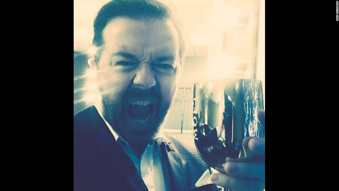 """Let's do this!"" <a href=""https://www.instagram.com/p/BAYSdE0F40a/?taken-by=rickygervais"" target=""_blank"">said comedian Ricky Gervais</a> before hosting the Golden Globes on Sunday, January 10. It was the fourth time he hosted the show."