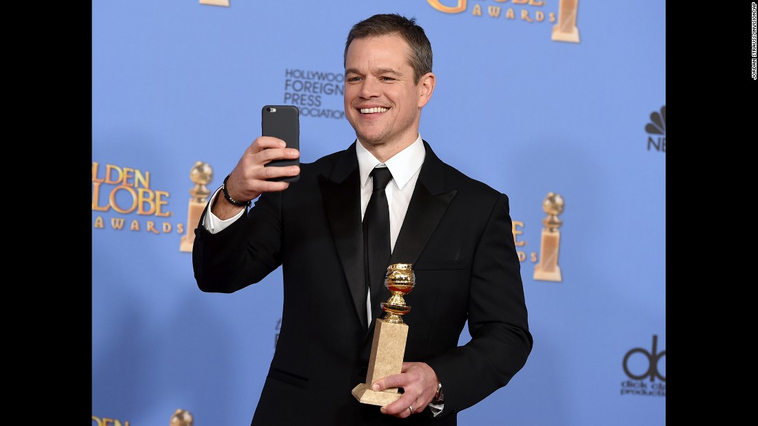 "Actor Matt Damon takes a selfie in the Golden Globes press room after winning for his role in ""The Martian"" on Sunday, January 10. <a href=""http://www.cnn.com/2016/01/10/entertainment/gallery/golden-globes-2016-winners/index.html"" target=""_blank"">See all the Golden Globe winners</a>"
