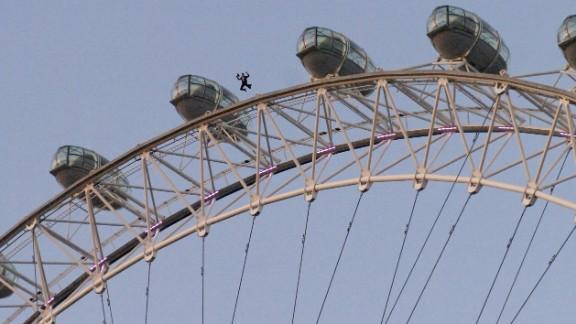 Gary Connery jumps off the London Eye Ferris wheel in November 2006.