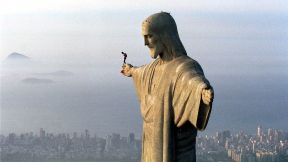 Years before his historic 2012 space jump, Austrian daredevil Felix Baumgartner lept from the arm of the 98-foot-tall Christ the Redeemer statue in December 1999.
