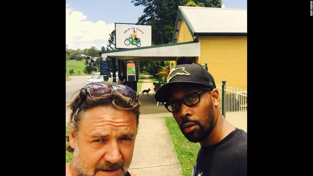 """Downtown with @RZA,"" <a href=""https://twitter.com/russellcrowe/status/686185229476741120"" target=""_blank"">tweeted Russell Crowe,</a> left, on Sunday, January 10. It appeared the two actors were in Crowe's hometown of Nana Glen, Australia."