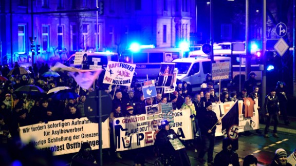 PEGIDA supporters gather as anger about the Cologne assaults runs high.