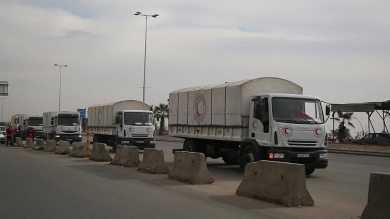 Arrival of aid brings tears to starving Syrians