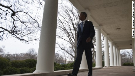 President Barack Obama walks through the Colonnade from the Oval Office on January 12, 2016, ahead of  his final State of the Union address later that day.