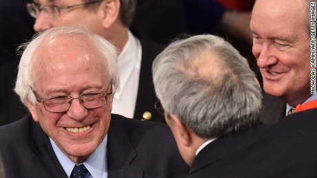 Democratic  presidential candidate Bernie Sanders (L) of Vermont arrives prior to  US President Barack Obama's State of the Union address before a Joint Session of Congress at the US Capitol in Washington, DC, on January 12, 2016. This is Obama's final State of the Union address, perhaps the last opportunity of his presidency to sway a national audience and frame the 2016 election.   AFP PHOTO/NICHOLAS KAMM / AFP / NICHOLAS KAMM        (Photo credit should read NICHOLAS KAMM/AFP/Getty Images)
