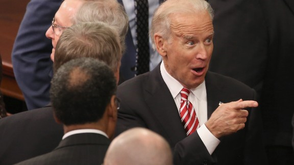 WASHINGTON, DC - JANUARY 12: US Vice President Joe Biden gestures before the arrival of US President Barack Obama delivers the State of the Union speech before members of Congress in the House chamber of the U.S. Capitol January 12, 2016 in Washington, DC. In his last State of the Union, President Obama reflected on the past seven years in office and spoke on topics including climate change, gun control, immigration and income inequality. (Photo by Mark Wilson/Getty Images)