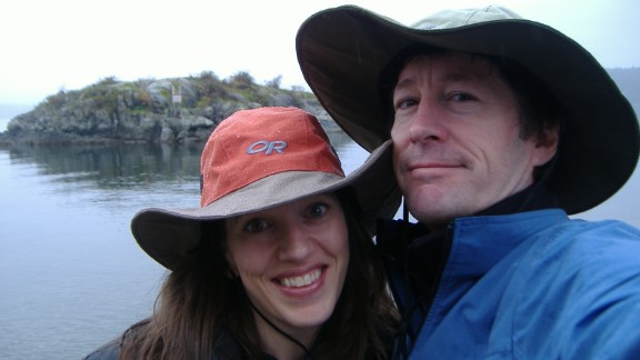 Victoria Maxwell and her husband near their home in Vancouver, British Columbia.