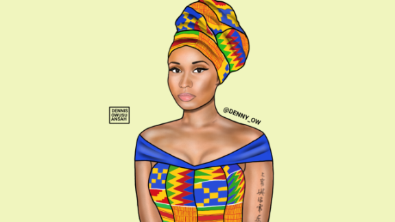 Combining bright colors with intricate patterns, Owusu-Ansah has created Nicki Minaj, aka, Nicki Maame Akua Amponsah.