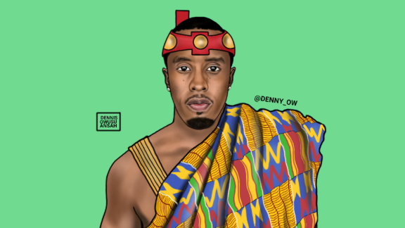 Making Africa accessible through contemporary pop art, Owusu-Ansah has created and given P Diddy an African name: Sean Puffy Nana Antwi Combs.
