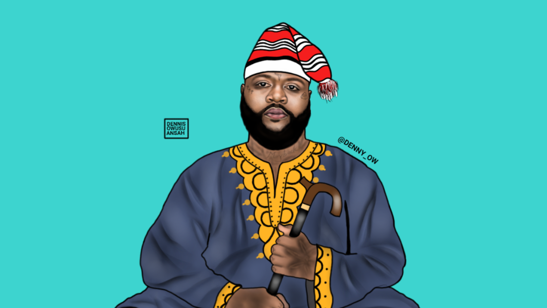Portraits usually take the artist a day or two depending on the details. Here he has created Mazi Odinnaka Rosey, formerly known as Rick Ross.