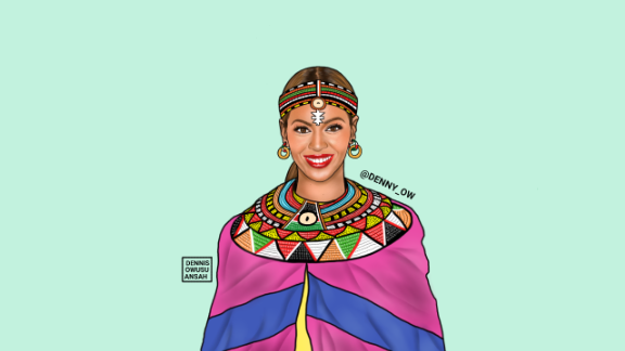 He has not only put artists in authentic African clothes but given them African names. Beyonce has been named Beyonce Lankenua Carter.