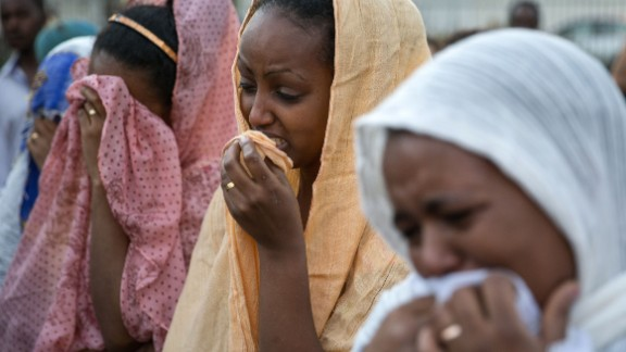 Members of the Eritrean community in Israel mourn Haftom Zarhum following his death in October.