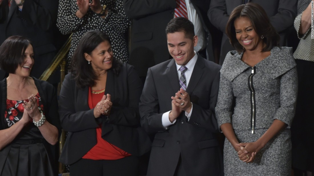 "The first lady chose <a href=""http://www.huffingtonpost.com/2015/01/20/michelle-obama-state-of-the-union-dress-2015_n_6509516.html"" target=""_blank"">this Michael Kors tweed skirt suit</a> for the 2015 State of the Union address."
