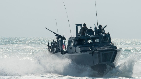A U.S. riverine command boat patrols the Persian Gulf on November 2. The U.S. sailors recently detained by Iran were on riverine command boats.