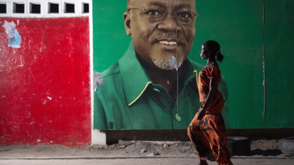 Poster of Tanzania President John Magufuli in Dar Es Salaam, recently after he was elected in October 2015.