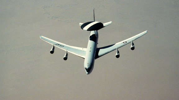 AWACS stands for airborne warning and control system. This four-engine jet, based on a Boeing 707 platform, monitors and manages battle space with its huge rotating radar dome. The planes have a flight crew of four supporting 13 to 19 specialists and controllers giving direction to units around the battle space. The Air Force has 32 E-3s in inventory.