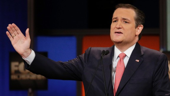 """Cruz speaks during the debate. The senator from Texas opened the event by talking about the U.S. sailors recently detained by Iran. """"Today,"""" he said, """"many of us picked up our newspapers, and we were horrified to see the sight of 10 American sailors on their knees, with their hands on their heads. ... I give you my word, if I am elected president, no service man or service woman will be forced to be on their knees, and any nation that captures our fighting men will feel the full force and fury of the United States of America."""""""
