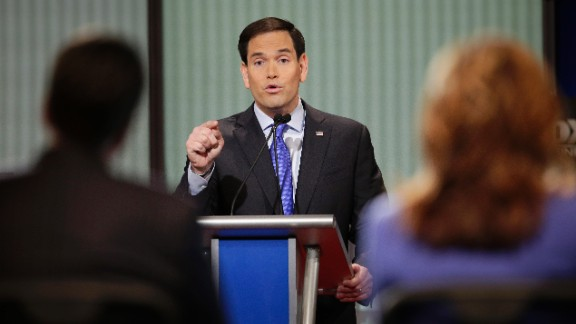 """Rubio delivers an answer during the debate. He frequently attacked President Barack Obama. """"When I become president of the United States, on my first day in office, we are going to repeal every single one of his unconstitutional executive orders,"""" the senator from Florida said. """"When I'm president of the United States, we are getting rid of Obamacare and we are rebuilding our military."""""""