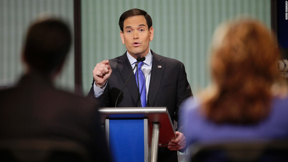 "Rubio delivers an answer during the debate. He frequently attacked President Barack Obama. ""When I become president of the United States, on my first day in office, we are going to repeal every single one of his unconstitutional executive orders,"" the senator from Florida said. ""When I'm president of the United States, we are getting rid of Obamacare and we are rebuilding our military."""