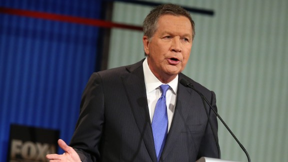 Ohio Gov. John Kasich participates in the Fox Business Network Republican presidential debate at the North Charleston Coliseum and Performing Arts Center on January 14, 2016, in North Charleston, South Carolina.