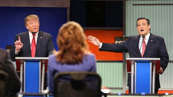 NORTH CHARLESTON, SC - JANUARY 14:  Republican presidential candidates (L-R) Donald Trump and Sen. Ted Cruz (R-TX) participate in the Fox Business Network Republican presidential debate at the North Charleston Coliseum and Performing Arts Center on January 14, 2016 in North Charleston, South Carolina. The sixth Republican debate is held in two parts, one main debate for the top seven candidates, and another for three other candidates lower in the current polls.  (Photo by Scott Olson/Getty Images)