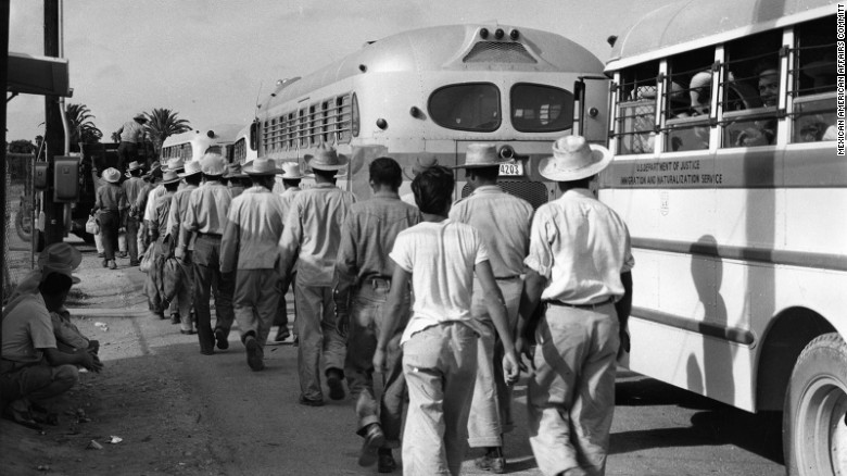 """Wetbacks,"" workers from Mexico board deportation buses at the McAllen, Texas, detention center, ca. early 1950s."