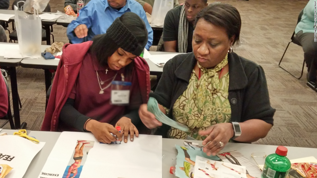 "One of the reasons why I became a mentor is to help children achieve their goals,"" says Gale Ferrell (right). Gale is a ""big"" or mentor with Big Brothers Big Sisters of Metropolitan Detroit. Here she is helping her 16 year-old ""little,"" mentee Dyiamond create a vision board—a visual representation of her goals. ""I want her to know the bright star that she is,"" says Ferrell.   The two are working on college scholarships and applications to help Dyiamond achieve her dream of becoming a hair salon owner or a physical trainer."