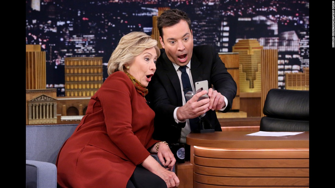 """Tonight Show"" host Jimmy Fallon takes a Snapchat selfie with Democratic presidential candidate Hillary Clinton on Thursday, January 14."