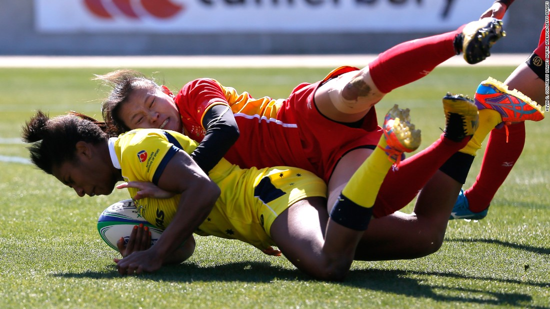 In 2014, Green caught the eye with one of the best tries ever seen at the Women's Sevens World Series when she ran 75 yards to score and give Australia a last-gasp win over Canada. She is pictured here in action against China earlier that year.