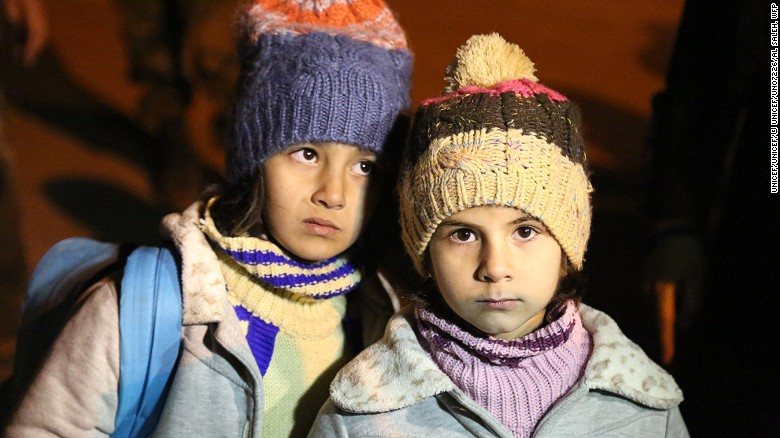 Children from Madaya, Syria, seen in a photograph from UNICEF, which delivered food and other supplies to the city.