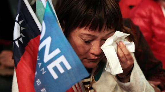 A supporter cries as Chu concedes defeat.