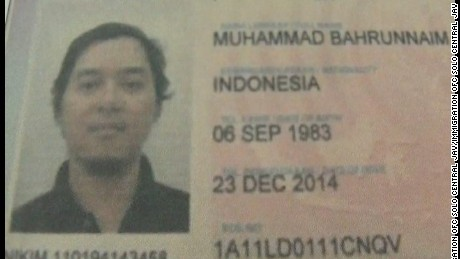 A photo of the passport of Bahrun Naim, a suspect in the Jakarta attacks.