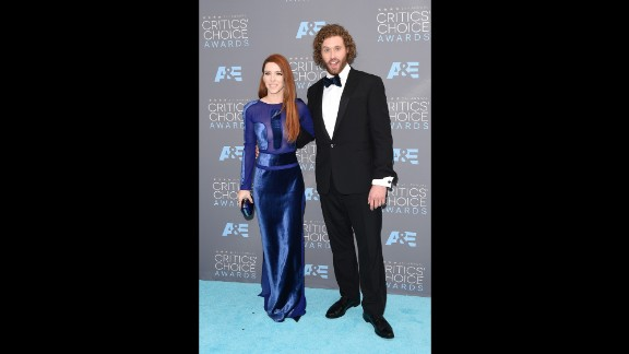 Kate Gorney  and host T. J. Miller arrive for the the 21st Annual Critics' Choice Awards at Barker Hangar on January 17 in Santa Monica, California.