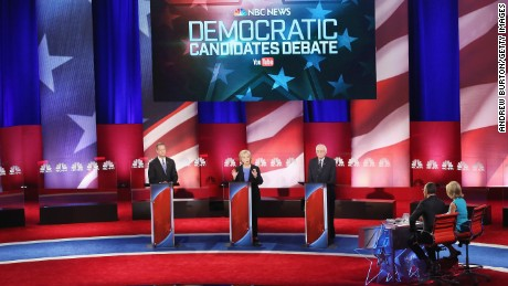 CHARLESTON, SC - JANUARY 17:  Democratic presidential candidates Martin OMalley (L), Hillary Clinton (C) and Senator Bernie Sanders (I-VT) participate in the Democratic Candidates Debate hosted by NBC News and YouTube on January 17, 2016 in Charleston, South Carolina. This is the final debate for the Democratic candidates before the Iowa caucuses.  (Photo by Andrew Burton/Getty Images)