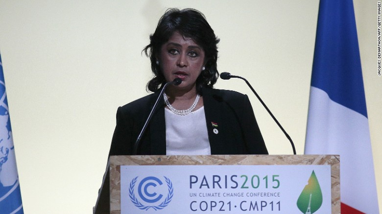 Mauritius President Ameenah Gurib-Fakim delivers a speech in Paris in 2015.