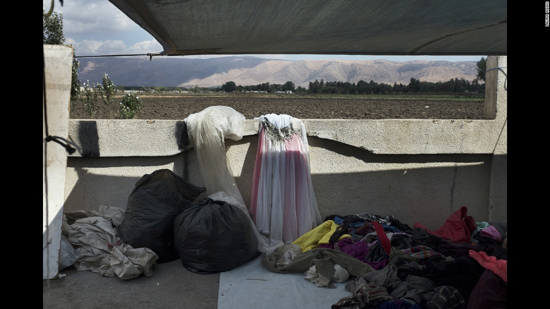 A wedding dress is seen at a market in the Bekaa Valley. Many girls prefer to rent their wedding dress so they can save money, Caldon said.