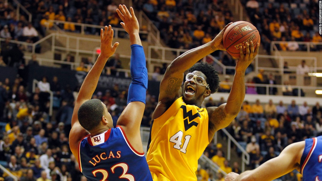 West Virginia's Devin Williams rises for a shot during his team's upset of top-ranked Kansas on Tuesday, January 12.