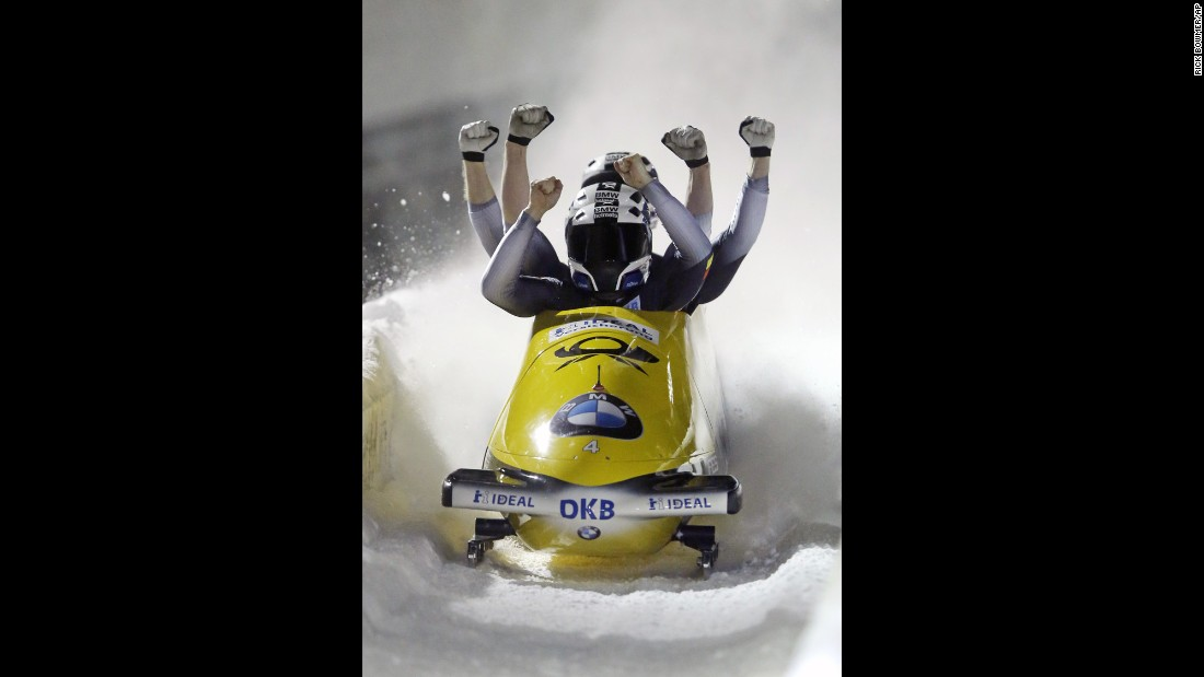 German bobsledders Nico Walther, Marko Hubenbecker, Christian Poser and Eric Franke win a World Cup race in Park City, Utah, on Saturday, January 16.