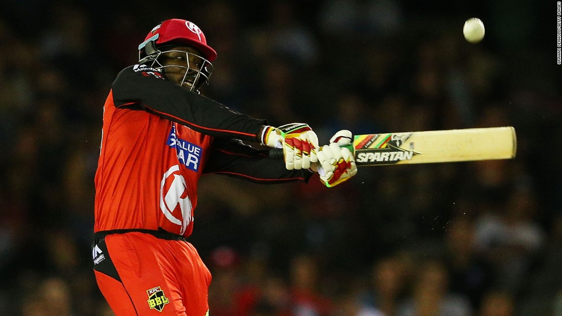 Chris Gayle hits a six during a Big Bash League match in Melbourne on Monday, January 18. Gayle tied the world record for the fastest half-century in Twenty20 cricket (12 balls), but it wasn't enough for the Melbourne Renegades to defeat Adelaide.