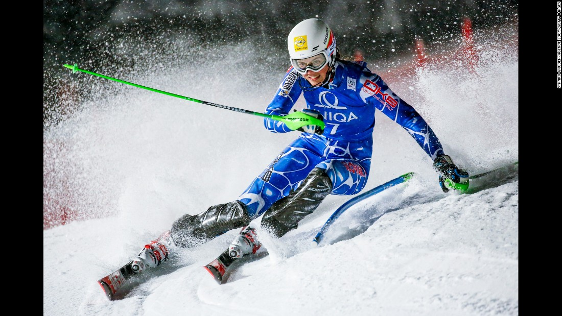 Slovakia's Petra Vlhova turns a corner during a World Cup slalom race in Flachau, Austria, on Friday, January 15. She finished third.