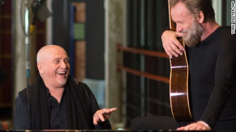 British musicians Peter Gabriel, left, and Sting, shown here on Jan. 4, have announced a joint headline tour across the United States and Canada.